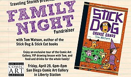 Promotional graphic for Dinner With Children's Book Author Tom Watson.