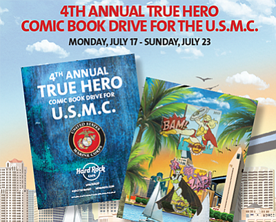 Promotional photo for the True Hero Comic Book Drive. Courtesy of the Hard Rock Cafe San Diego.
