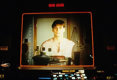 "Film still featuring Jim Carey in ""The Truman Show"" (1998)."