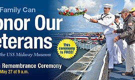Promotional flier for the USS Midway Wreath Ceremony.