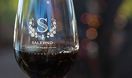 A glass of wine at Salerno Winery.