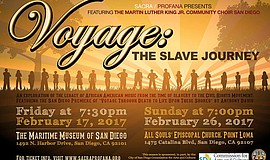 A promotional poster for SACRA/PROFANA's Voyage: The Slave Journey concert.