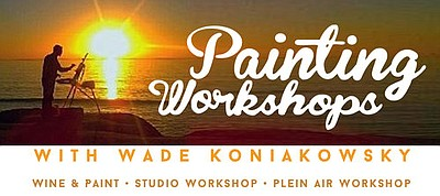 Promotional graphic for Painting Workshops with Wade Koni...