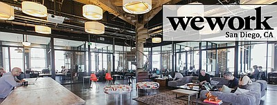 Photo of the interior of the WeWork San Diego building.
