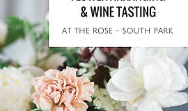 Promotional graphic for the Mother-Daughter Wine Tasting And Flower Arranging...