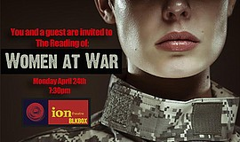 "A poster for ion's ""Women at War"" play reading."