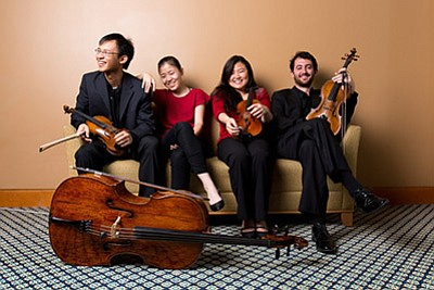 Photo of the featured performers, Zorá String Quartet. Co...
