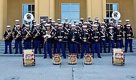 Photo of the featured band. Courtesy of the Marine Band S...