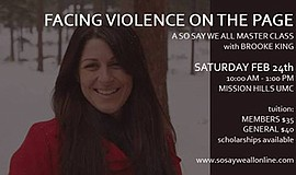 Promo graphic for 'Facing Violence On The Page': A So S...