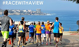 Promo graphic for La Jolla Half Marathon & Shores 5K