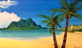 Promo graphic for Wine & Canvas Painting Class: Paradise