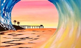 Promo graphic for Wine & Canvas Painting Class: Surfing...