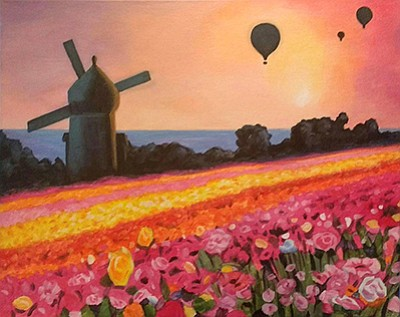Flower field sunset White Promotional Painting Of Flower Fields Courtesy Of Wine A Kpbs Wine Canvas Painting Class Flower Fields Sunset April 8 2018