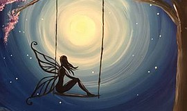 Promo graphic for Wine & Canvas Painting Class: Moon Fairy