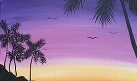 Promo graphic for Wine & Canvas Painting Class: Sunrise