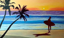Promo graphic for Wine & Canvas Painting Class: Sunset ...