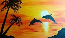 Promo graphic for Wine & Canvas Painting Class: Dolphin...