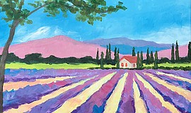 Promo graphic for Wine & Canvas Painting Class: Lavende...