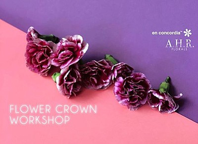 Promotional graphic for the flower crown workshop. Courte...