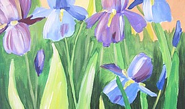 Promo graphic for Wine & Canvas Painting Class: Blue Iris