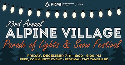 Promotional graphic for the Alpine Village Christmas Para...