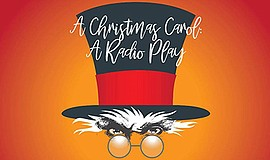 """Promotional graphic for """"A Christmas Carol, A Radio Play...."""