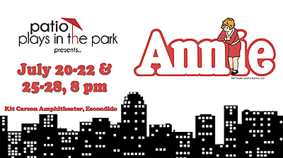 a promotional poster for annie courtesy of patio - Patio Playhouse