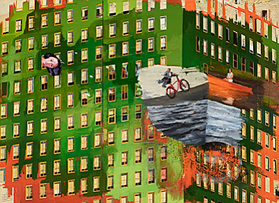 """Photo of artwork featured in """"I Love to Ride My Bicycle.""""..."""