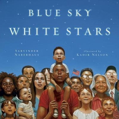 "Graphic cover of ""Blue Sky, White Stars"" by Sarvinder Nab..."