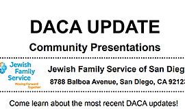 Promo graphic for DACA Updates By Jewish Family Service