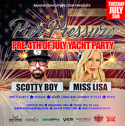 Promotional flier for the pre-Fourth of July yacht party....