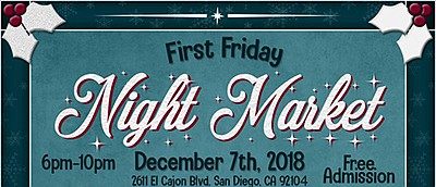 Promotional graphic for the December First Friday Night M...