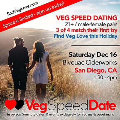 Promotional graphic for the San Diego speed dating event....
