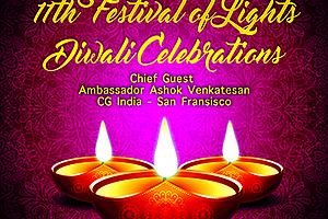 Promotional flyer for the Festival Of Lights - 11th Annual Diwali Celebration...