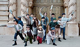 Promo graphic for Junior Theatre's 'Newsies, Jr.'