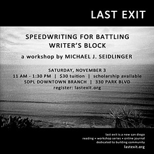 Promotional graphic for the writing workshop: Speedwritin...