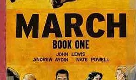 "Graphic cover of ""March: Book One"" by Congressman John Lewis, Andrew Aydin an..."