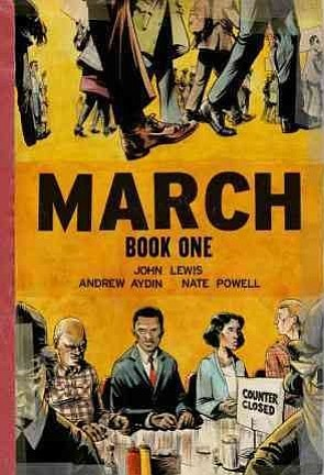 "Graphic cover of ""March: Book One"" by Congressman John Le..."