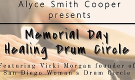 Promo graphic for Memorial Day Healing Drum Circle