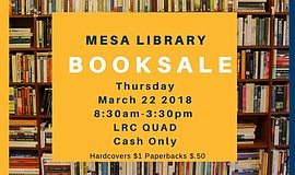 Promo graphic for Mesa College Library Book Sale