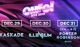 Promotional graphic for the OMFG New Year's Eve at Valley...