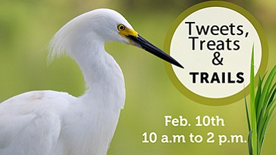 "Promotional graphic for ""Tweets, Treats & Trails."" Courte..."