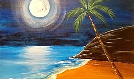 Photo of artwork created at the Midnight Moon painting class. Cou...