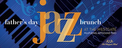 Promotional graphic for the Father's Day Jazz Brunch. Cou...