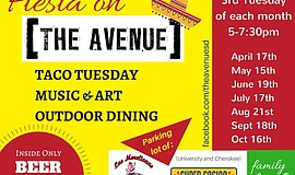 Promotional graphic for Fiesta On The Avenue presented by...
