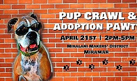 Promo graphic for Pup Crawl & Adoption Paw-ty
