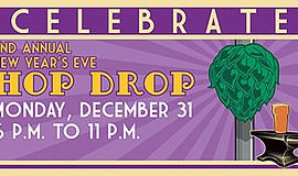 Promotional graphic for the New Year's Eve Hop Drop. Cour...