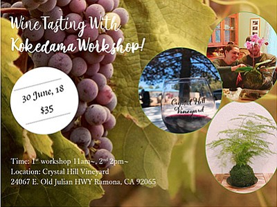 Promotional graphic for the wine tasting and kokedama wor...