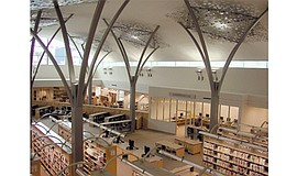 Overhead view of the interior inside the Mission Valley Library. ...
