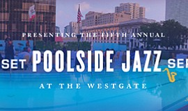 Promo graphic for Sunset Poolside Jazz Series At The We...